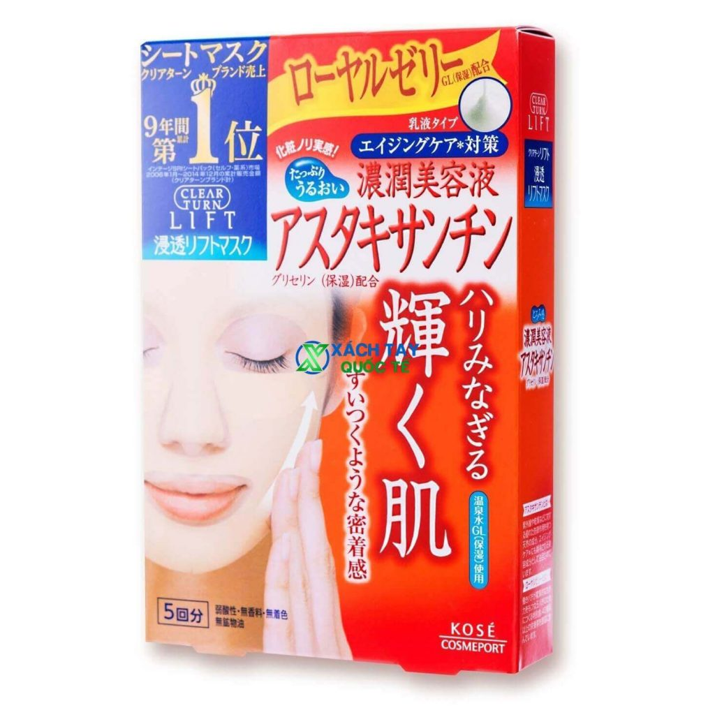 Mặt nạ Kose Cosmeport Clear Turn White Astaxanthin Mask chống lão hóa.