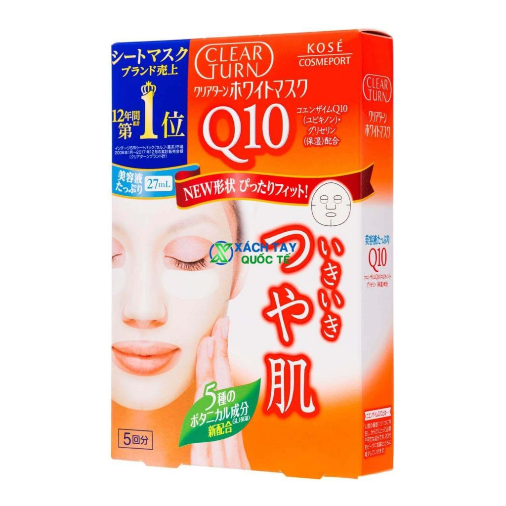 Mặt nạ Kose Cosmeport Clear Turn White Coenzyme Q10 Mask chống lão hóa.