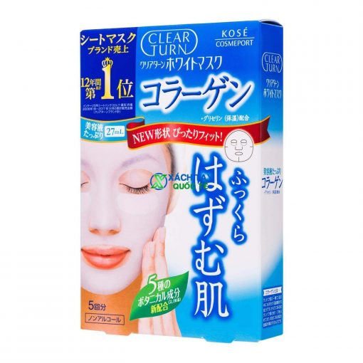 Mặt nạ Kose Cosmeport Clear Turn White Mask Collagen dưỡng ẩm - căng da