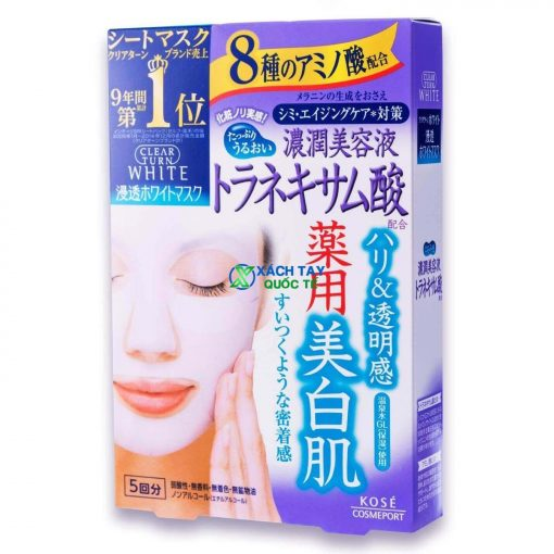Mặt nạ Kose Cosmeport Clear Turn White Tranexamic Acid Mask dưỡng trắng.